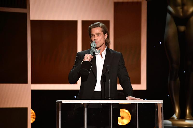 "Brad Pitt accepts the award for outstanding performance by a male actor in a supporting role for his role as Cliff Booth in ""Once Upon a Time in Hollywood."""