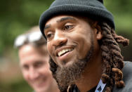 Carolina Panthers linebacker Shaq Thompson speaks to the media at NFL football training camp, Tuesday, July 27, 2021, at Wofford College in Spartanburg, S.C. (Jeff Siner/The Charlotte Observer via AP)