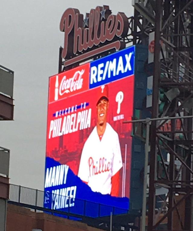 Manny Machado was welcomed to Philadelphia during his trip to meet with the Phillies. (photo via @JSalisburyNBCS)