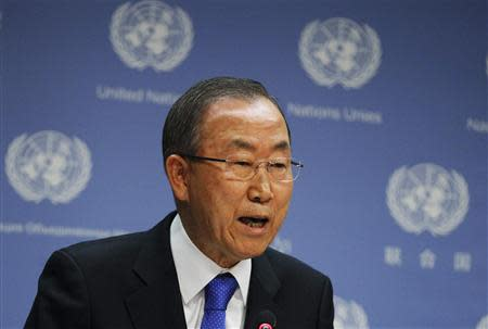 United Nations Secretary-General Ban Ki-moon speaks during a news conference at the United Nations Headquarters in New York, September 9, 2013. REUTERS/Brendan McDermid