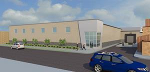 Main rendering of Flavorman's upcoming 28,000 sq. ft. facility to be built behind the existing headquarters building at 809 S. 8th Street, Louisville KY 40203.