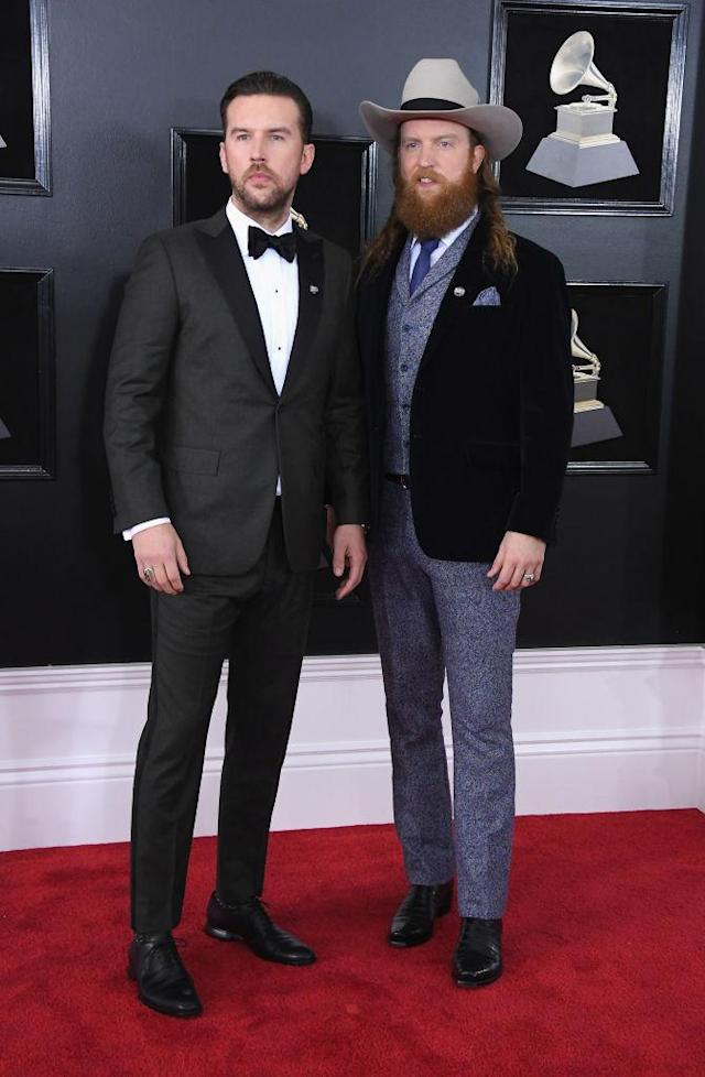 <p>T.J. Osborne (left) and John Osborne of the Brothers Osborne attend the 60th Annual Grammy Awards at Madison Square Garden in New York on Jan. 28, 2018. (Photo: John Shearer/Getty Images) </p>