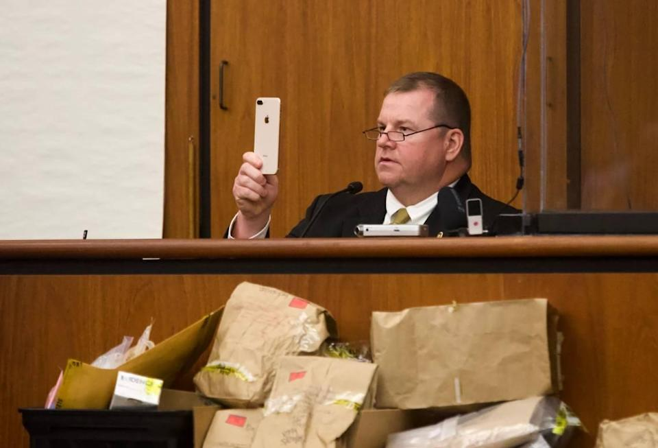 South Carolina Law Enforcement Division's Britt Dove testifies Thursday about phone records discovered in the trial of Nathaniel Rowland, who is accused of murdering Samantha Josephson.