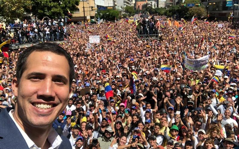Juan Guaido posts a selfie after a speech to thousands of supporters in the centre of Caracas