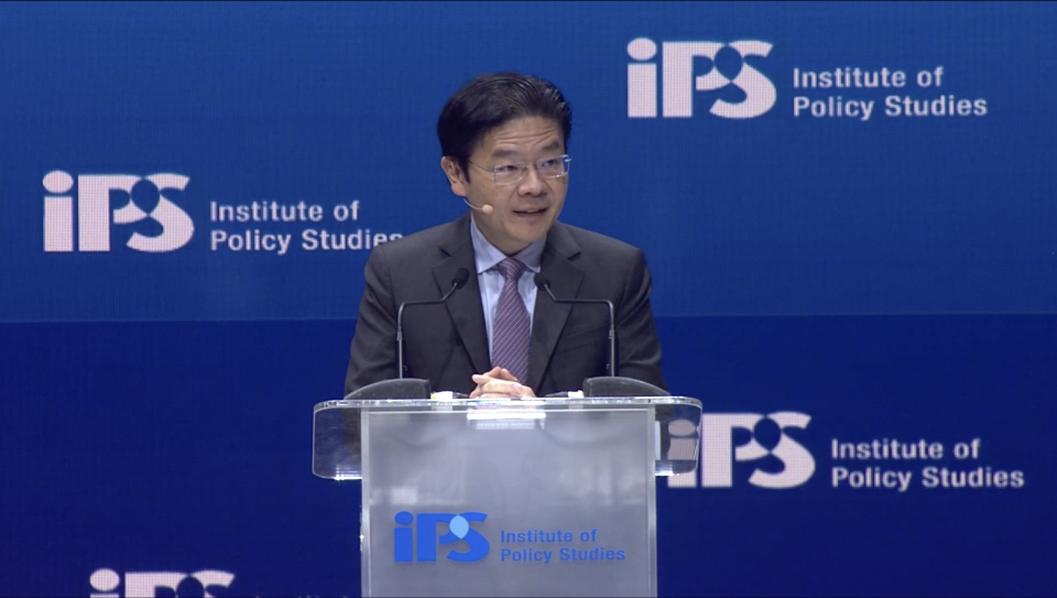 Co-chair of the multi-ministry task force tackling the pandemic Lawrence Wong speaking at the Institute of Policy Studies' conference on Monday (25 January). (PHOTO: Screengrab)