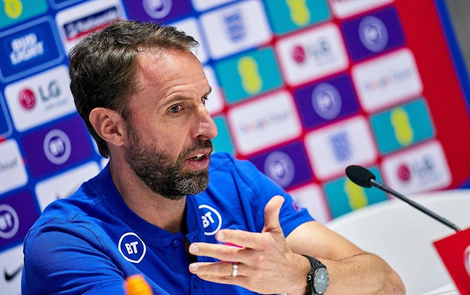 Gareth Southgate, head coach of England during a press conference ahead of the FIFA World Cup 2022 Qatar qualifying Group I match between Andorra and England - Getty Images