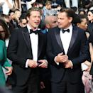 """<p>Pitt shares a laugh with <em>Once Upon a Time in Hollywood</em> costar Leonardo DiCaprio. The duo hit it off right away, in part because, Pitt revealed to <a href=""""https://www.esquire.com/entertainment/movies/a27458589/once-upon-a-time-in-hollywood-leonardo-dicaprio-brad-pitt-quentin-tarantino-interview/"""" rel=""""nofollow noopener"""" target=""""_blank"""" data-ylk=""""slk:Esquire"""" class=""""link rapid-noclick-resp""""><em>Esquire</em></a>, they both got their starts on <em>Growing Pains</em> (though they didn't cross paths on set).</p>"""