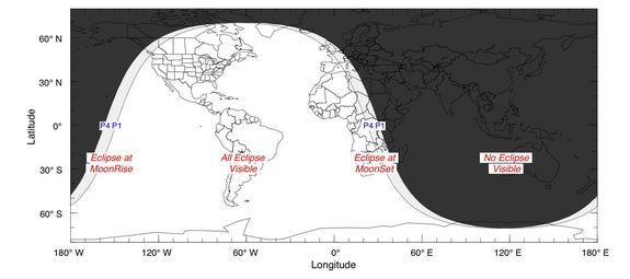 A map shows the area where the penumbral lunar eclipse of May 25, 2013, will be visible on Earth.