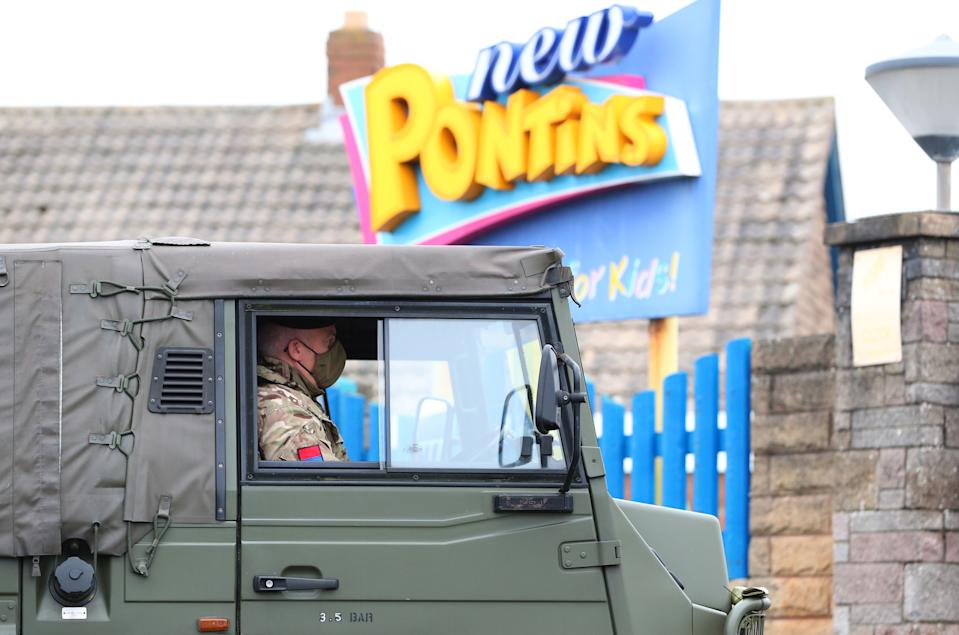 Soldiers at Pontin's in Southport where they will be staying ahead of the start of mass Covid-19 testing in Liverpool. (Photo by Peter Byrne/PA Images via Getty Images)