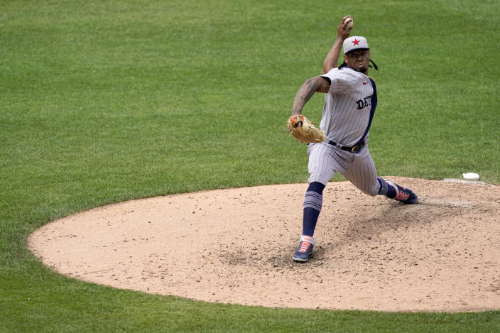 Detroit Tigers pitcher Gregory Soto throws during the seventh inning of a baseball game against the Kansas City Royals Sunday, May 23, 2021, in Kansas City, Mo. (AP Photo/Charlie Riedel)