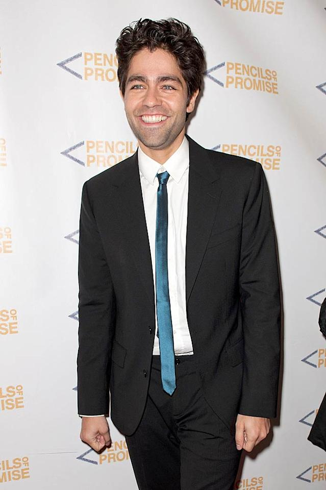 "Adrian Grenier has been busy with good causes lately! The ""Entourage"" actor, who donned a skinny tie and black suit for the soiree, has teamed up with film producer Peter Glatzer to launch a new sustainable wine label, Shft House Wines, and a new eco-friendly website, SHFT.com. (11/17/2011)"
