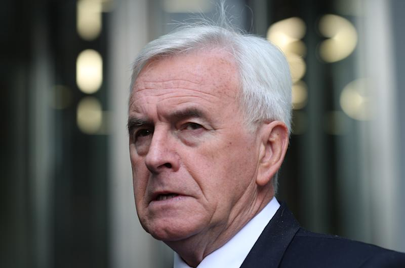 Shadow chancellor John McDonnell leaves BBC Broadcasting House in London after appearing on the Andrew Marr show.