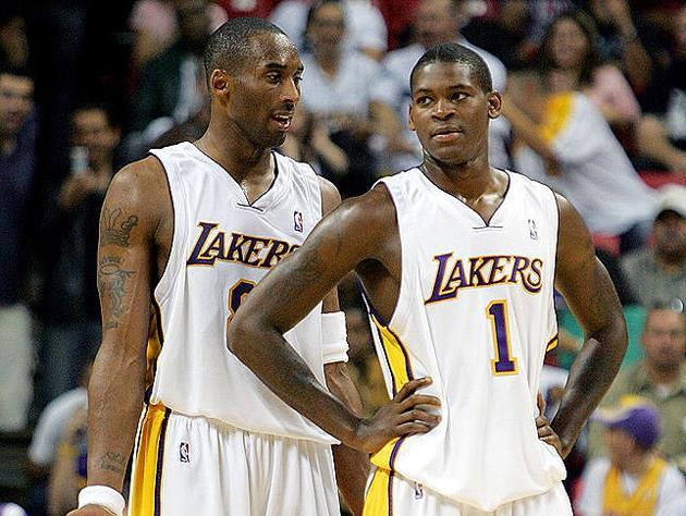 Kobe Bryant and Smush Parker. (Getty Images)