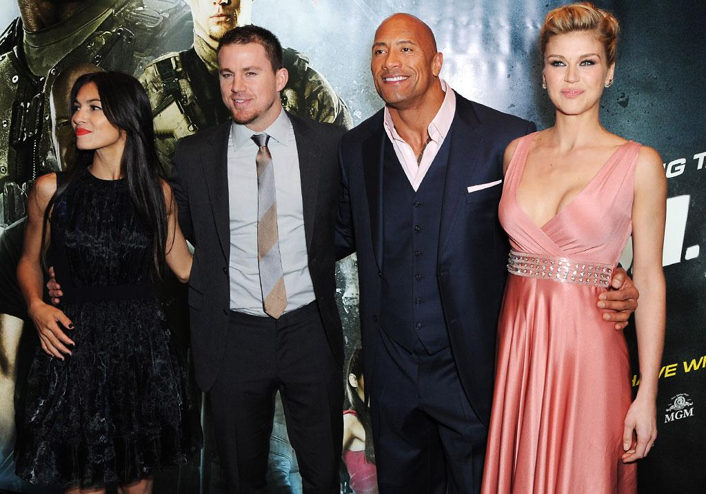 Elodie Yung, Channing Tatum, Dwayne Johnson and Adrianne Palicki attend the UK premiere of 'G.I. Joe: Retaliation' at The Empire Leicester Square on March 18, 2013 in London, England.