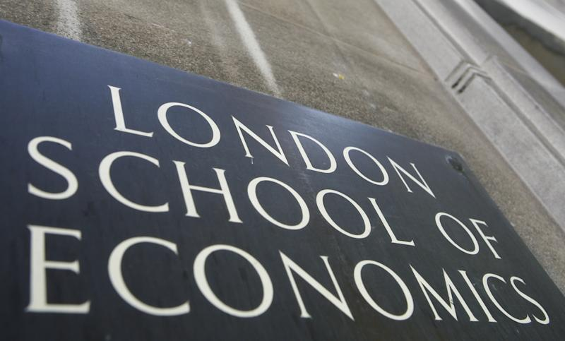 """The name plaque outside the London School of Economics (LSE) in this file photo dated Sept. 3, 2009, in central London.  The renowned LSE has denounced the BBC for using a student-organized trip to North Korea as """"cover"""" for a reporting trip to the secretive communist country, and alleging the BBC put students at risk by having a journalist pretend to be affiliated with the university to be free to gather material and conducting undercover filming for a TV program which is set to be broadcast upcoming Monday. Foreign reporting crews usually have to operate under strict supervision in North Korea, but it seems that an covert three-person TV crew was involved and the LSE alleges that the BBC were reckless in putting the students at rick.(AP Photo/Johnny Green) UNITED KINGDOM OUT - NO SALES - NO ARCHIVES (AP Photo/Johnny Green, PA) UNITED KINGDOM OUT - NO SALES - NO ARCHIVES"""