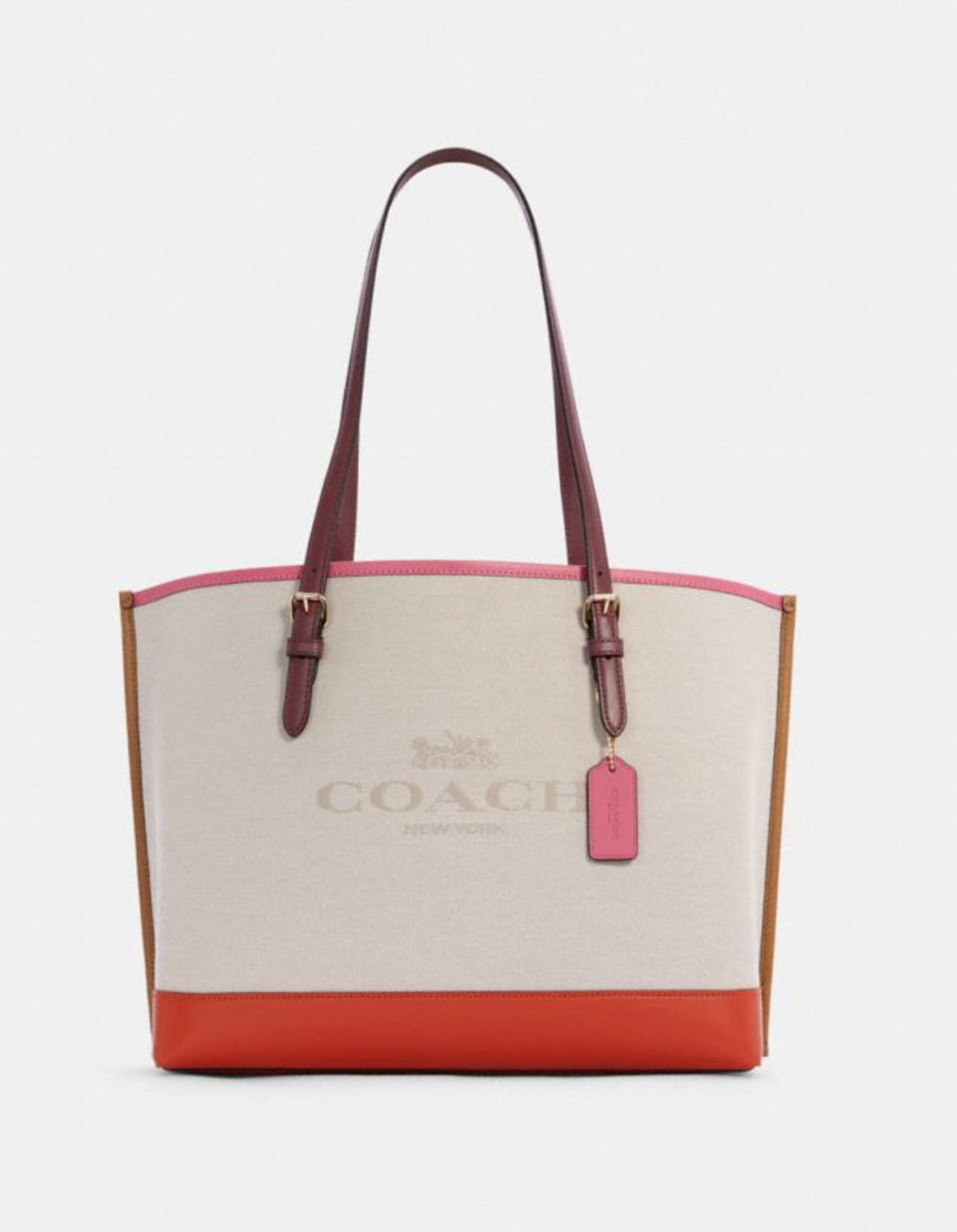 Mollie Tote In Colorblock in Natural/Mango (Photo via Coach Outlet)