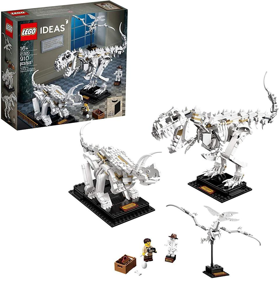 """<p><strong>LEGO Ideas</strong></p><p>amazon.com</p><p><strong>$59.99</strong></p><p><a href=""""https://www.amazon.com/dp/B083GK6WXJ?tag=syn-yahoo-20&ascsubtag=%5Bartid%7C10054.g.34039580%5Bsrc%7Cyahoo-us"""" rel=""""nofollow noopener"""" target=""""_blank"""" data-ylk=""""slk:Buy"""" class=""""link rapid-noclick-resp"""">Buy</a></p><p>Old bones to complement your weary ones. Featuring the three coolest dinosaurs, this set is another that you can transition from activity to decor.</p>"""