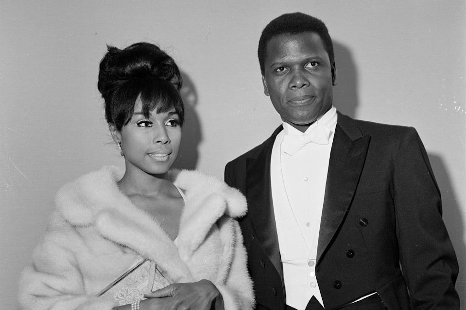<p>With Diahann Caroll, with whom he had a years-long affair, at the 36th Academy Awards in Santa Monica, California, in 1964.</p>