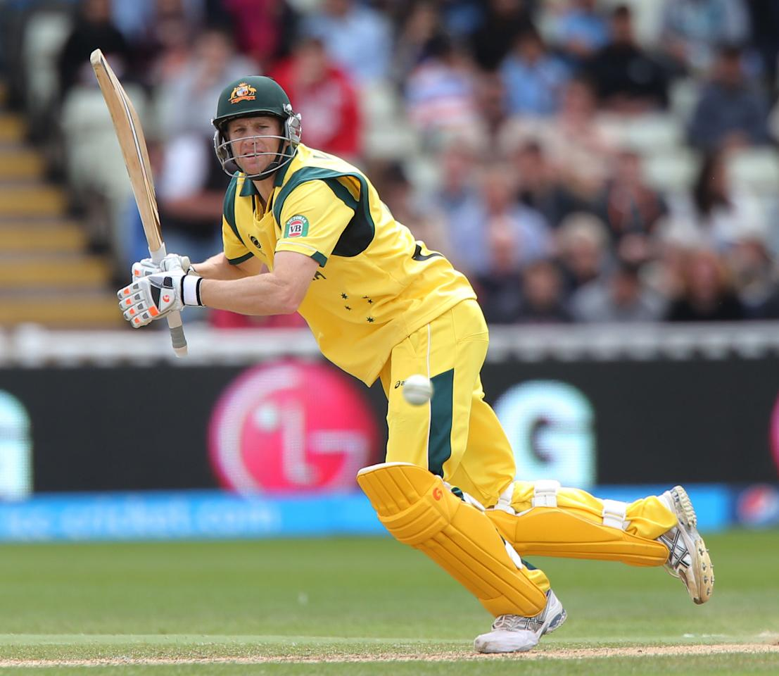 Australia batsman Adam Voges hits out against New Zealand during the ICC Champions Trophy match at Edgbaston, Birmingham.