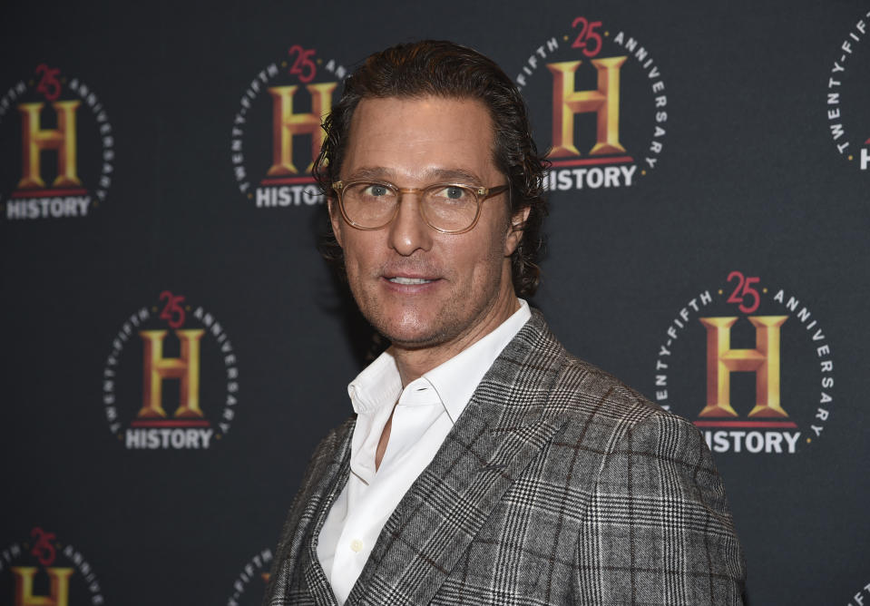 "FILE - Actor Matthew McConaughey attends A+E Network's ""HISTORYTalks: Leadership and Legacy"" on Feb. 29, 2020, in New York. The Oscar winner, known for such films as ""Dallas Buyers Club"" and ""Magic Mike,"" didn't want to write an ordinary celebrity book. ""This is not a traditional memoir, or an advice book, but rather a playbook based on adventures in my life,"" McConaughey said in a statement about ""Greenlights,"" which comes out Oct. 20. (Photo by Evan Agostini/Invision/AP, File)"