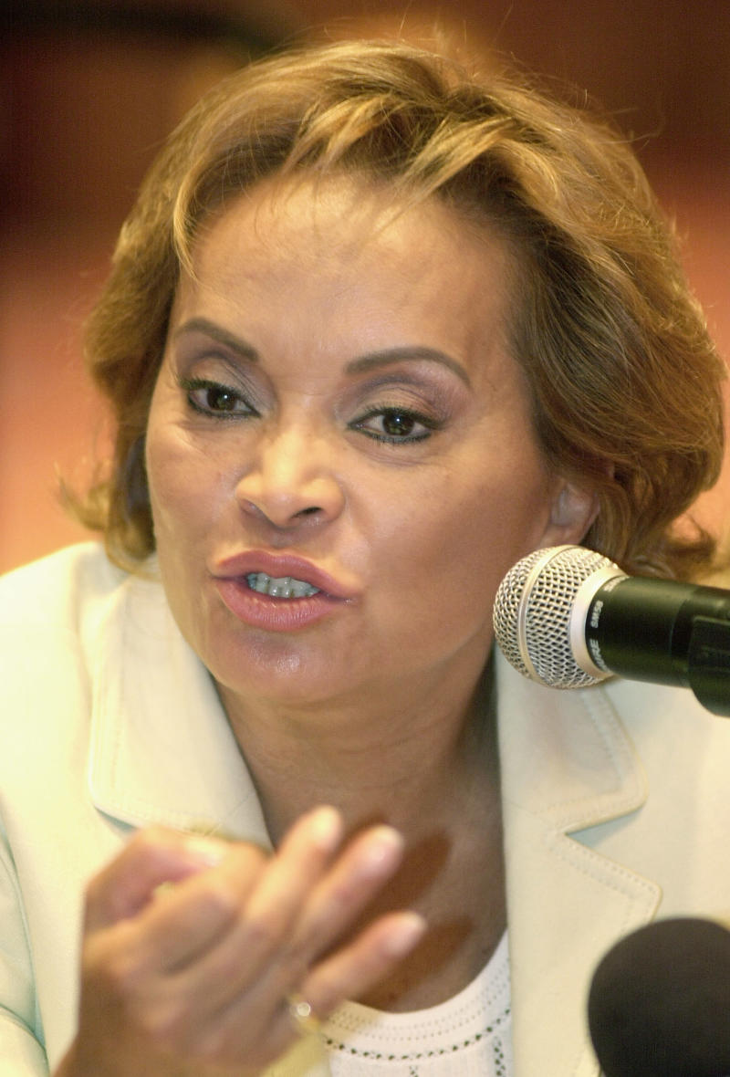 FILE - This May 12, 2003 file photo shows Elba Esther Gordillo, then secretary general of the Institutional Revolutionary Party (PRI) speak at a news conference with foreign correspondents in Mexico City. Gordillo is probably Mexico's most powerful woman, president for life of the nation's biggest union and a potential kingmaker in next year's presidential election. Now she's fighting allegations from a former ally that she tried to extort nearly $2 million a month from a federal agency in a scandal that has raised questions about how far reform has taken root in Mexico following the 2000 ouster of the long-ruling PRI.  (AP Photo/Eduardo Verdugo, File)