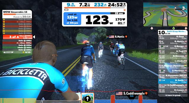 Zwift, a bike simulator you can connect to a trainer, allows you to virtually race others. Some pro teams have used this platform to scout for talent. (Zwift)