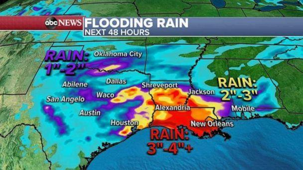 PHOTO: A flash flood watch has been issued for Louisiana, Mississippi and Alabama. (ABC News)