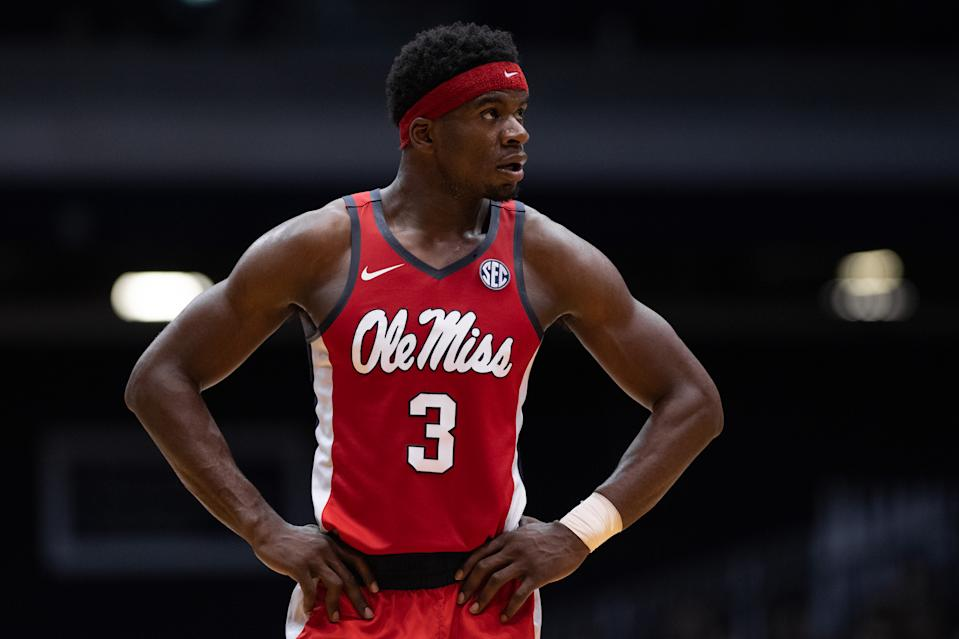 INDIANAPOLIS, IN - NOVEMBER 16: Ole Miss Rebels guard Terence Davis (3) waits on the court during a free throw during the men's college basketball game between the Butler Bulldogs and Ole Miss Rebels on November 16, 2018, at Hinkle Fieldhouse in Indianapolis, IN. (Photo by Zach Bolinger/Icon Sportswire via Getty Images)