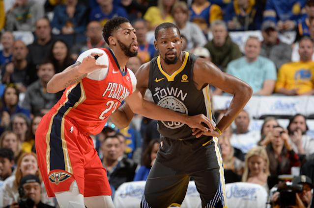 Anthony Davis and Kevin Durant, two of the NBA's most gifted players, figure to tangle quite a bit in the second round. (Getty)