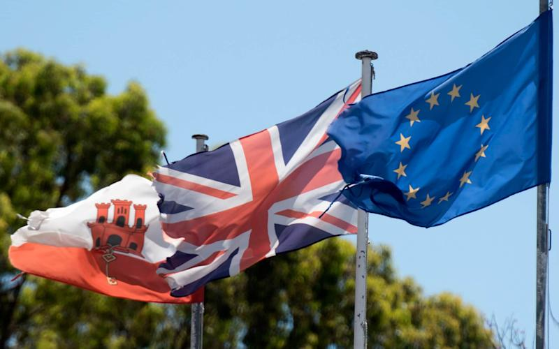 The Europa Flag The Union Flag and Flag of Gibraltar - Credit: Paul Grover for the Telegraph