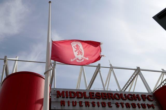 A flag was flying at half-mast before the Sky Bet Championship match between Middlesbrough and QPR, in memory of the Duke of Edinburgh