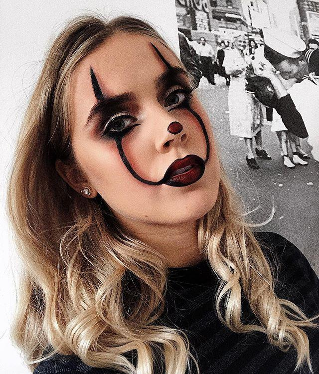 """<p>Forget red and black! For the moodiest of moody clown makeup, <strong>go with brown and black makeup instead</strong>. Smoke out your black lines with <a href=""""https://www.amazon.com/Palladio-Polvo-para-cejas-Oscuro/dp/B001AAVBX4/?tag=syn-yahoo-20&ascsubtag=%5Bartid%7C10049.g.33247158%5Bsrc%7Cyahoo-us"""" rel=""""nofollow noopener"""" target=""""_blank"""" data-ylk=""""slk:brown eyeshadow"""" class=""""link rapid-noclick-resp"""">brown eyeshadow</a> and use <a href=""""https://go.redirectingat.com?id=74968X1596630&url=https%3A%2F%2Fwww.ulta.com%2Flip-it-up-satin-lipstick%3FproductId%3DxlsImpprod16151055&sref=https%3A%2F%2Fwww.cosmopolitan.com%2Fstyle-beauty%2Fbeauty%2Fg33247158%2Fcute-clown-halloween-makeup-tutorials%2F"""" rel=""""nofollow noopener"""" target=""""_blank"""" data-ylk=""""slk:brown lipstick"""" class=""""link rapid-noclick-resp"""">brown lipstick</a> for your lips and nose.</p><p><a href=""""https://www.instagram.com/p/B3XUfpJJo1c/?utm_source=ig_embed&utm_campaign=loading"""" rel=""""nofollow noopener"""" target=""""_blank"""" data-ylk=""""slk:See the original post on Instagram"""" class=""""link rapid-noclick-resp"""">See the original post on Instagram</a></p>"""