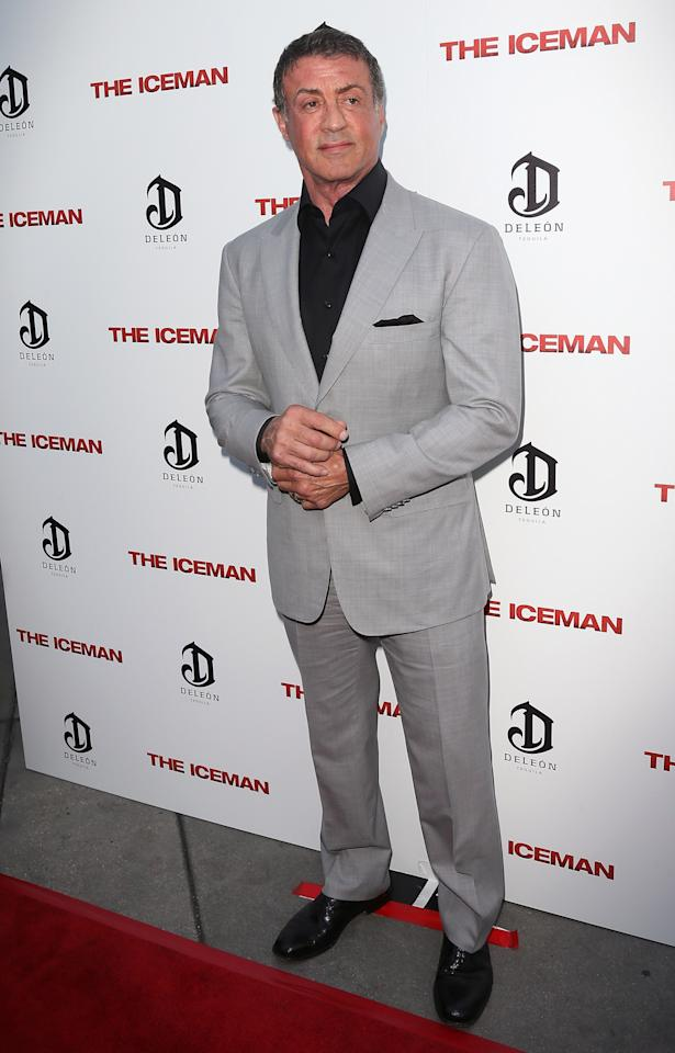 "HOLLYWOOD, CA - APRIL 22:  Actor Sylvester Stallone attends the Los Angeles special screening of Millennium Entertainment's ""The Iceman"" at ArcLight Hollywood on April 22, 2013 in Hollywood, California.  (Photo by David Livingston/Getty Images)"