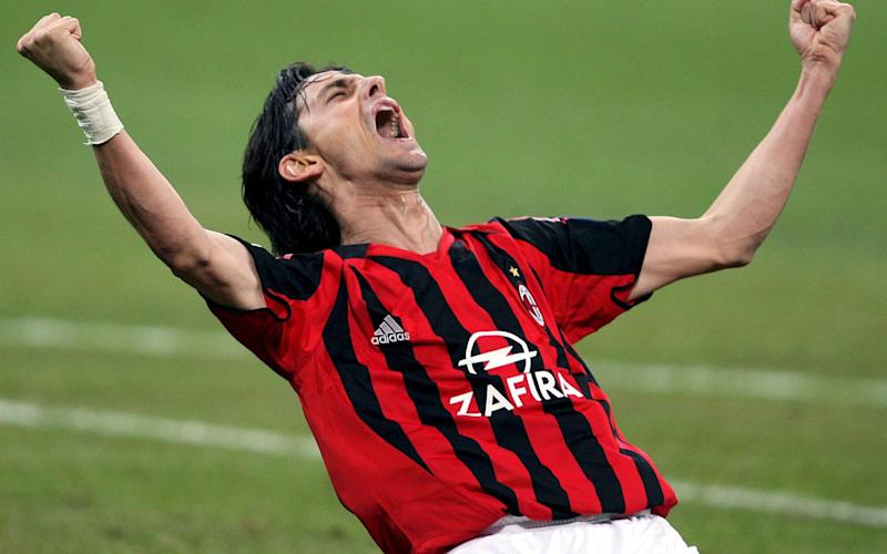 Filippo Inzaghi - presumably celebrating a goal, not an assist - for AC Milan in the Champions League in 2006 - Credit: DANIEL DAL ZENNARO/EPA