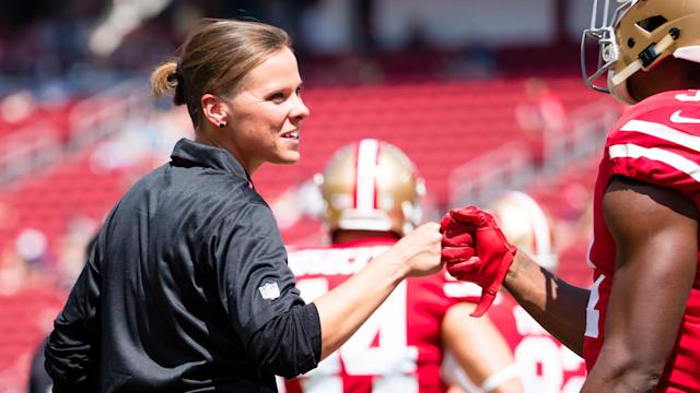 49ers coach Katie Sowers is getting one of her wishes, as the Tampa Bay Buccaneers have become the first team to have two full-time female coaches on their staff.