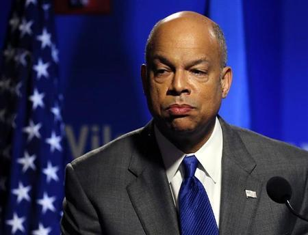 Department of Homeland Security Secretary Johnson delivers a speech in Washington