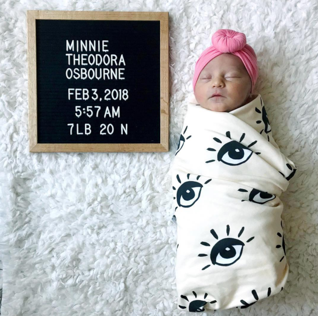 "<p>""Hey everyone meet Minnie! She's the newest member of my girls only squad,"" the proud papa captioned this OMG shot of his new baby. This is the third daughter for Ozzy and Sharon's son and his wife, Lisa, who are also parents to Pearl, 5, and Andy, 2. (Photo: <a href=""https://www.instagram.com/p/Be04-csD7p_/?hl=en&taken-by=jackosbourne"" rel=""nofollow noopener"" target=""_blank"" data-ylk=""slk:Jack Osbourne via Instagram"" class=""link rapid-noclick-resp"">Jack Osbourne via Instagram</a>) </p>"