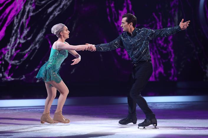 Editorial use only  Mandatory Credit: Photo by Matt Frost/ITV/Shutterstock (11736470gl)  Graham Bell and Karina Manta in the skate-off  'Dancing On Ice' TV show, Series 13, Episode 3, Hertfordshire, UK - 31 Jan 2021