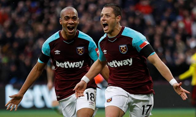 Javier Hernández celebrates scoring West Ham's opening goal against Watford at the London Stadium.
