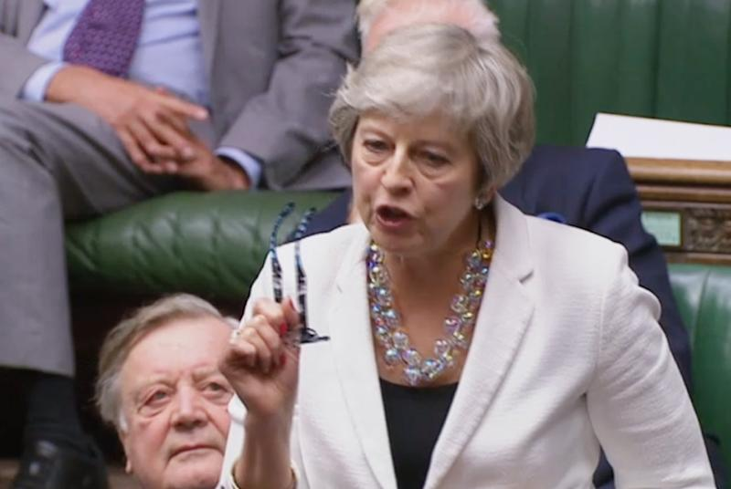 Former prime minister Theresa May speaks in the House of Commons, London, after Prime Minister Boris Johnson delivered a statement on his new Brexit deal.