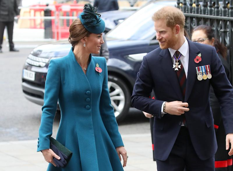 Kate and Harry share a smile as they arrive at the Anzac Day service (Getty Images)