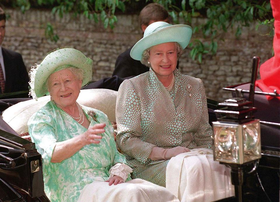 <p>On her 96th birthday, the Queen Mother rode in a carriage with her daughter, Queen Elizabeth II. They were en route to a church service in Sandringham, Norfolk. </p>