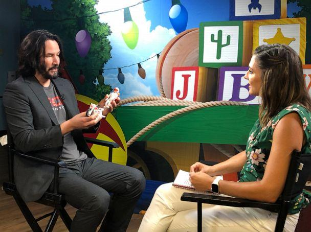 PHOTO: ABC's Paula Faris one-on-one with Keanu Reeves on his new role in Toy Story 4. (ABC NEWS)