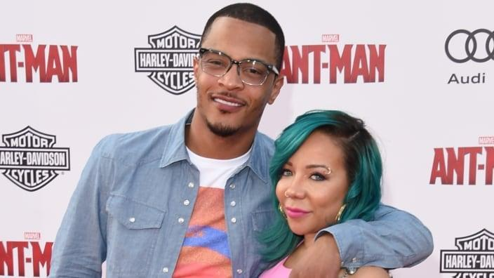 """Tip """"T.I."""" Harris (left) and Tameka """"Tiny"""" Cottle-Harris (right) won't be charged in an alleged sexual assault case because the statute of limitations expired. (Photo by Jason Merritt/Getty Images)"""