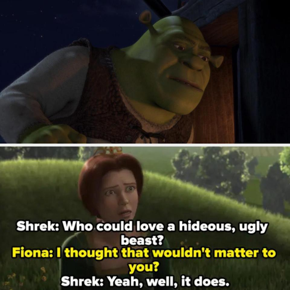 Shrek overhearing a conversation between Fiona and Donkey out of context