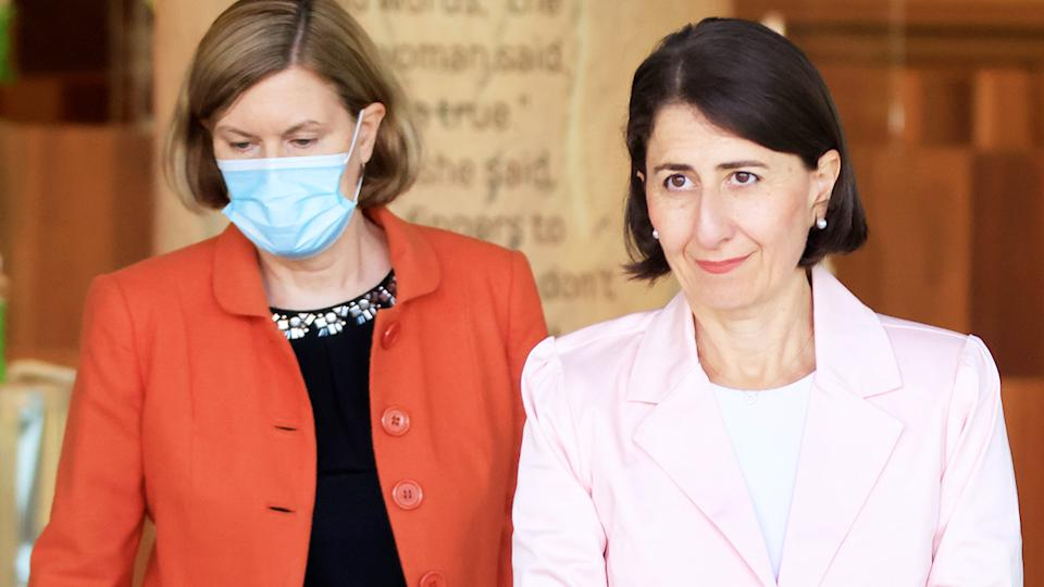 NSW Premier Gladys Berejiklian (pictured right) and NSW Chief Health Officer Dr Kerry Chant (pictured left) before a press conference.