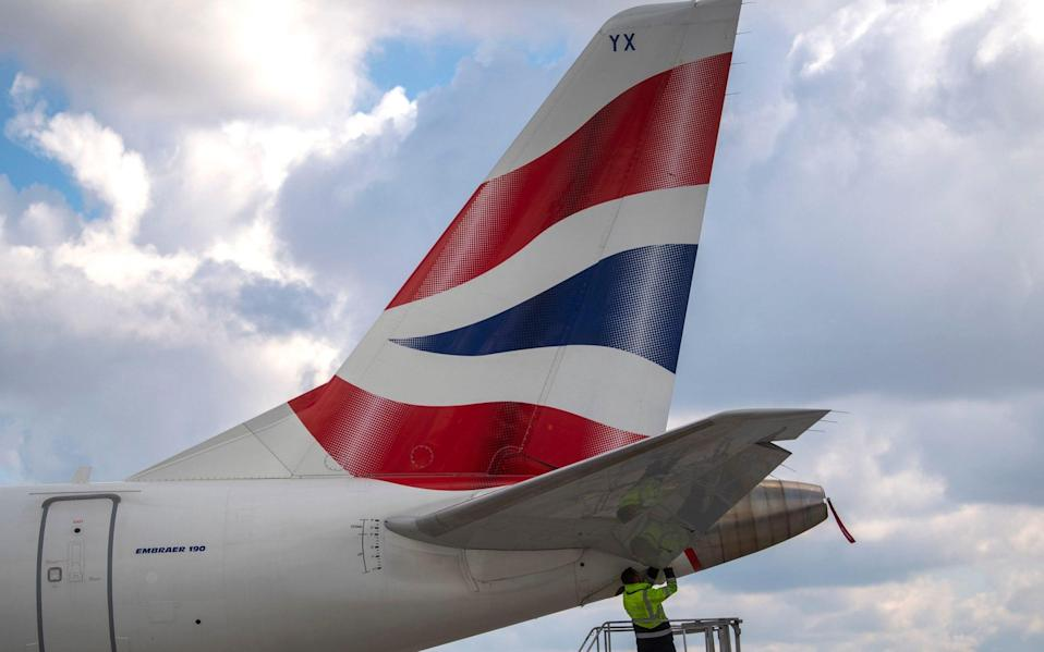 A British Airways plane is prepared for takeoff at London City Airport - Victoria Jones/PA