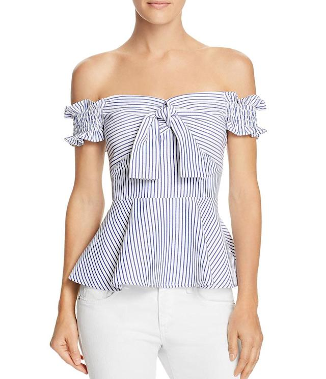 "<p>Marianna off-the-shoulder striped peplum top, $68,<a href=""https://www.bloomingdales.com/shop/product/lucy-paris-marianna-off-the-shoulder-striped-peplum-top?ID=2871188&CategoryID=2910#fn=ppp%3Dundefined%26sp%3D1%26rId%3D131%26spc%3D277%26cm_kws%3Doff%20the%20shoulder%20top%26spp%3D4%26pn%3D1%7C4%7C4%7C277%26rsid%3Dundefined%26smp%3DexactMultiMatch"" rel=""nofollow noopener"" target=""_blank"" data-ylk=""slk:bloomingdales.com"" class=""link rapid-noclick-resp""> bloomingdales.com</a> </p>"