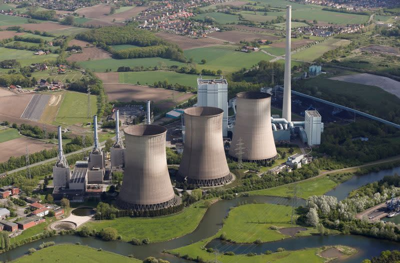 """FILE PHOTO: An aerial picture shows the four natural-gas power plants """"Gersteinwerk"""" of Germany's RWE Power near the western German city of Hamm"""