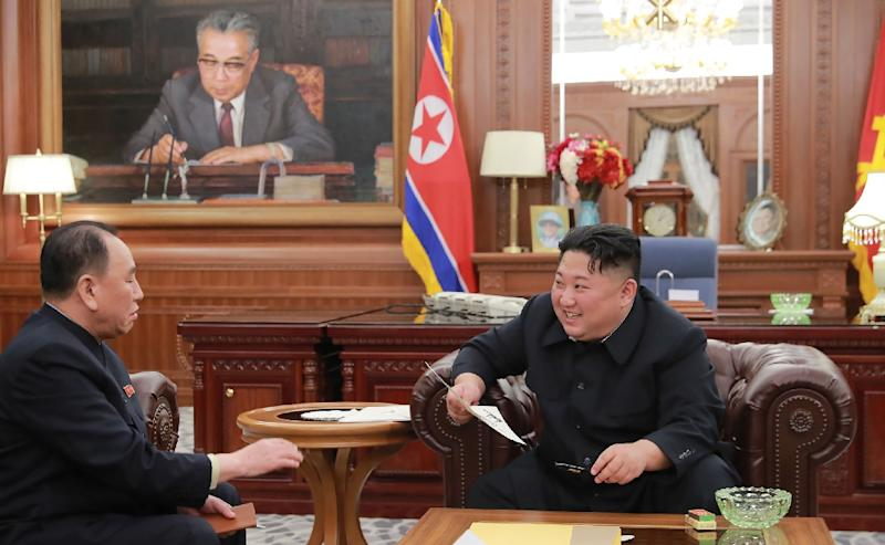 "Kim Jong Un, pictured here meeting with envoy Kim Yong Chol on Wednesday, said Donald Trump had written him a ""good personal letter"" (AFP Photo/KCNA VIA KNS)"